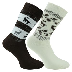 Beige-braun-mix Norweger Socken mit Wolle Country Style - 2 Paar