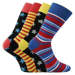 Bunte Herrensocken -Stars and Stripes - 4 Paar