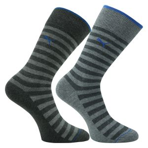 Puma Herrensocken anthrazit-grau gestreift - 2 Paar