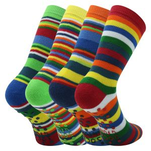 Beste Laune Ringel-Kindersocken ABS Stopper Thermo Noppensocken - 3 Paar
