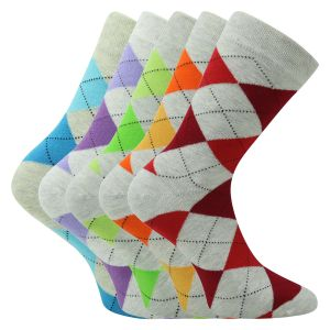 Damensocken Argyle Karo Melange Patterns Baumwolle - 3 Paar