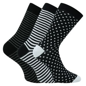 Damensocken Black & White Patterns Baumwolle - 3 Paar