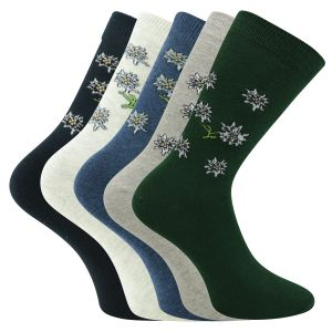 Damen-, Teenager- u. Kinder Socken Edelweiss-Motive - 3 Paar