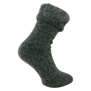 Mega Thermo Heat Socken mit ABS Noppen anthrazit melange - Tog Rating 2.3 - 1 Paar
