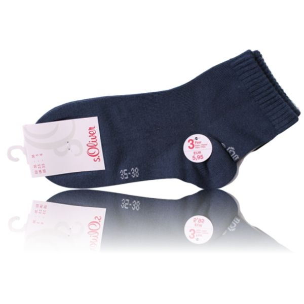 s.Oliver Kinder Quarter Socken blau mix - 3 Paar